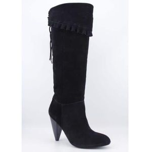 BCBG Black over the knees lace up ruffle boots 8